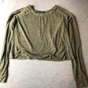 Green thin soft cropped shirt
